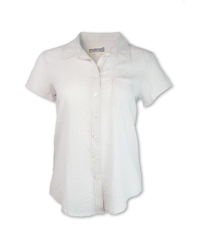 Short-Sleeved White Pinstripe Shirt