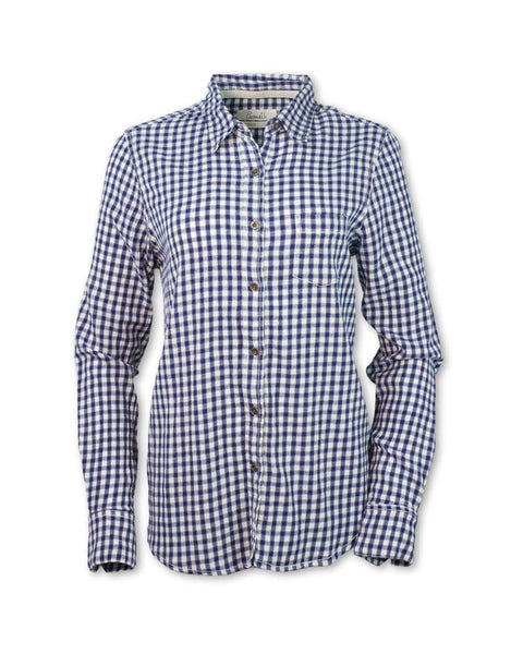Long-Sleeved Navy Checkered Shirt