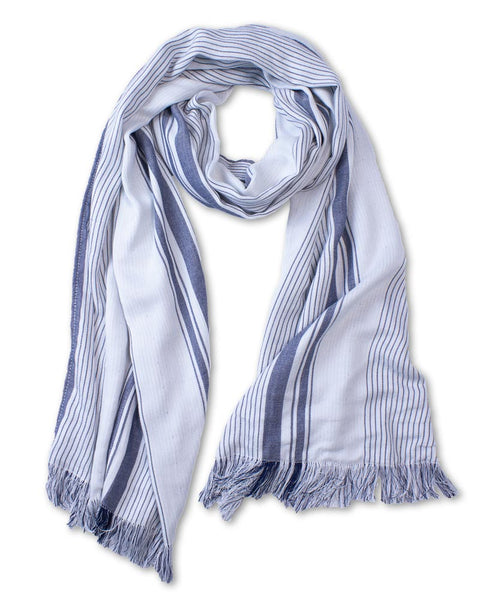 Navy/White Striped Scarf