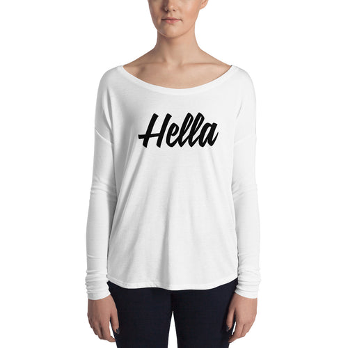 Ladies' Long Sleeve Hella White Tee