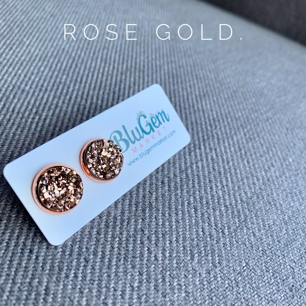 12mm Rose Gold Studs
