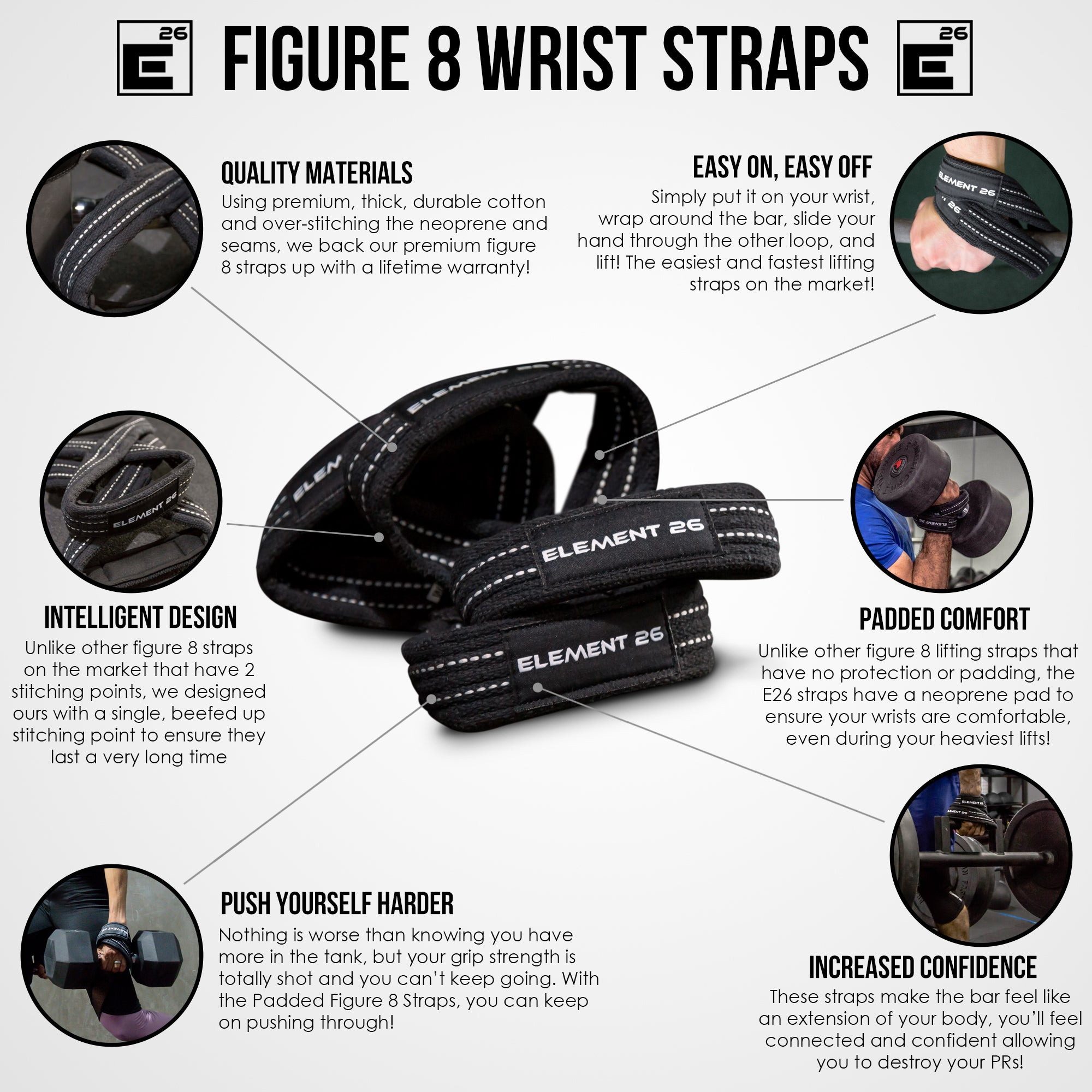 Padded Figure 8 Weightlifting Straps
