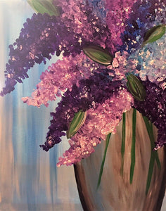 """Lilacs"" May 14 at 6:30 pm. Dinner, Drinks & Painting."