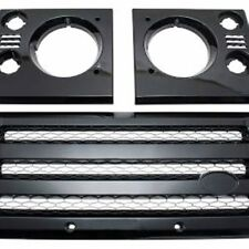 New Defender XS Front Grille & Headlamp Surround Black With Silver Mesh - DA1968