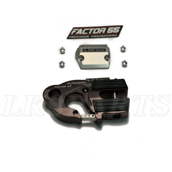 Factor 55 Gray UltraHook Winch Hook & Rope Guard Combo