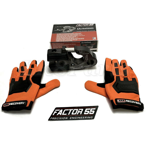 Factor 55 Gray UltraHook Winch Hook & ARB Gloves kit For Up To 3/8