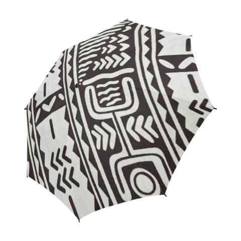 Black and White Mudcloth Semi-Automatic Foldable Umbrella