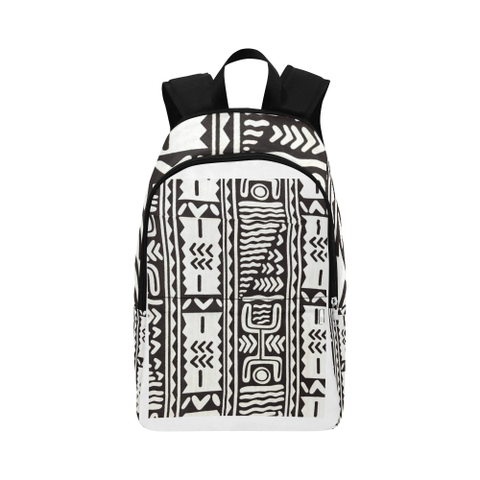 Black and White Mudcloth Fabric Backpack for Adult