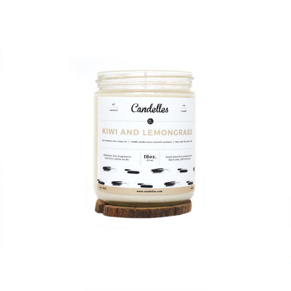 Candelles Candles - SPRING - Kiwi and Lemongrass Scented Soy Candle - 16oz.