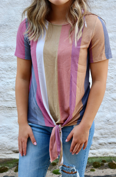 Faded Color Knot Top