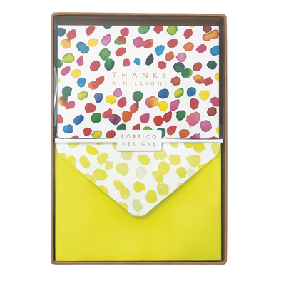 Portico Designs US Inc - Boxed Notecard Set - Inky Dots 'Thanks a Million'