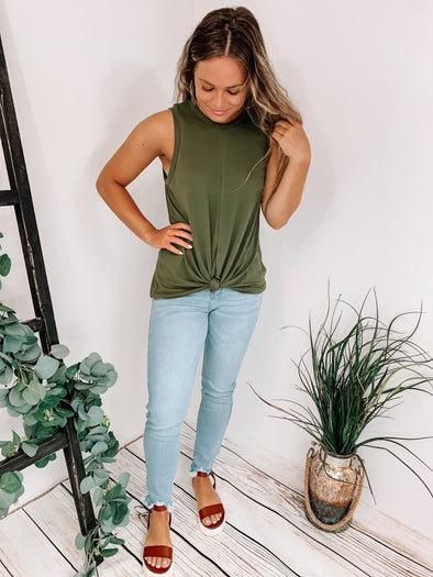 Knotted Olive Top