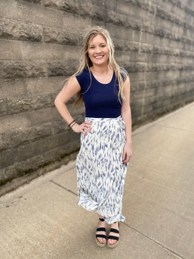 Grey Strokes Wrap Skirt