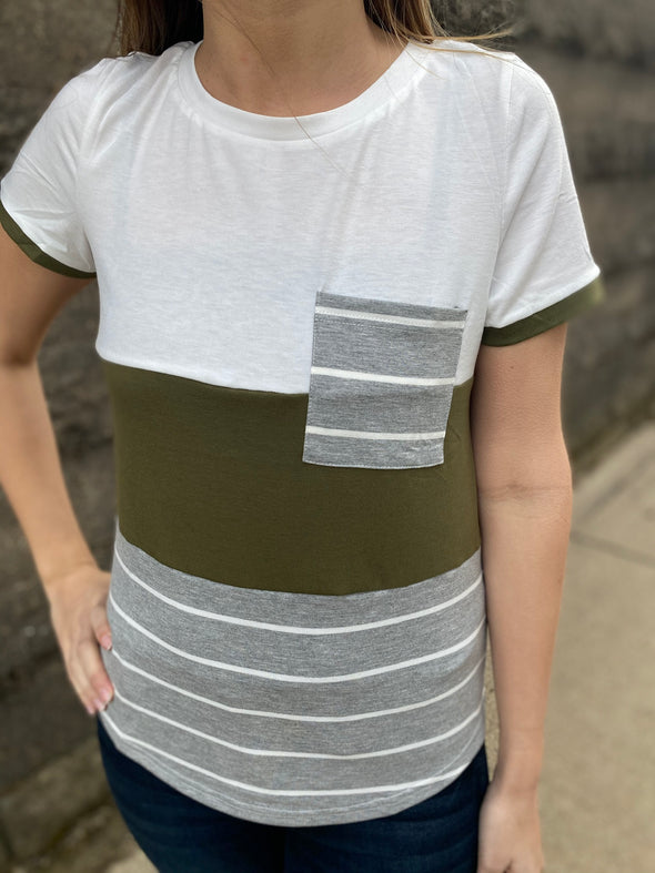 Right Here With Me Color Block Top