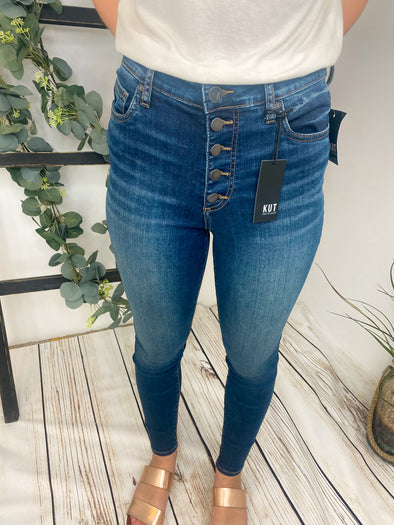 Mia High Rise Kut Skinny Button Fly