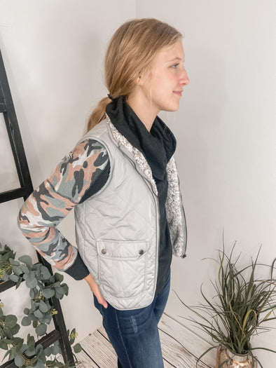 Zip Up Grey Vest