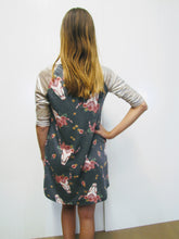 Velvet Floral Longhorn Print Shift Dress/Tunic