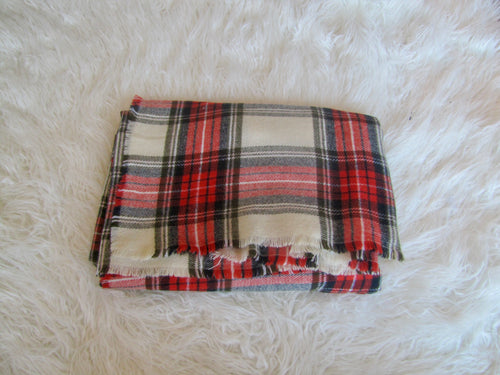 Red White Plaid Blanket Scarf