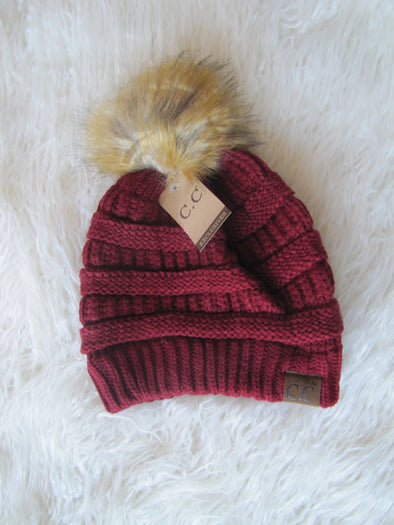 Deep Red Pom CC Hat