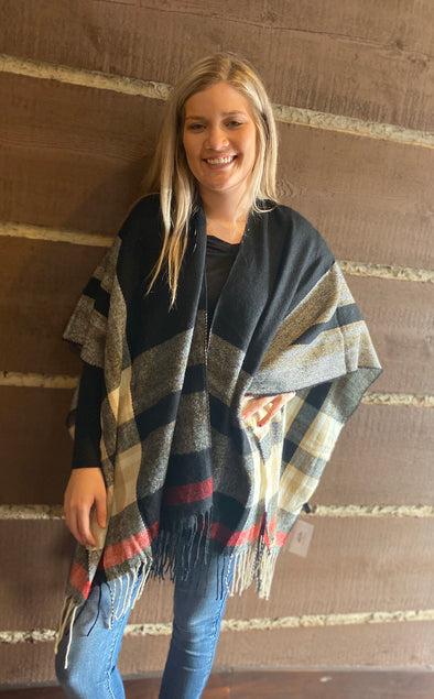 Plaid Pattern Cape