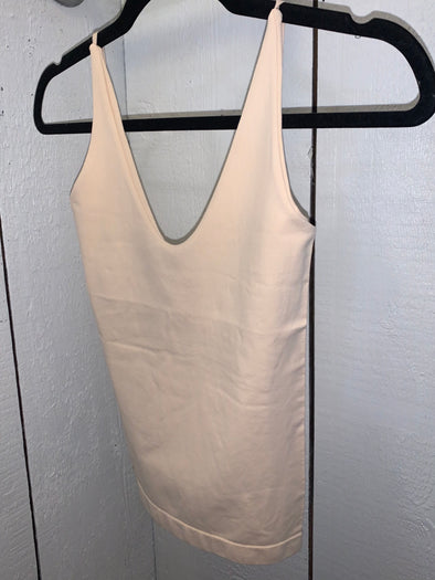 Nude U-V Neck Cami With Layer Bra