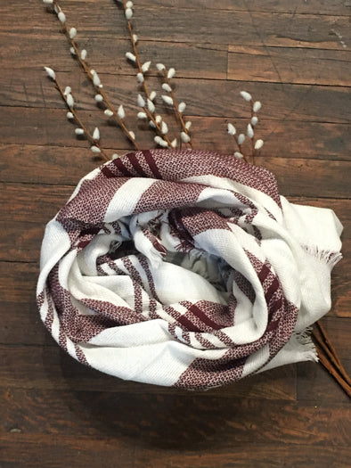 White-Burgundy Blanket Scarf