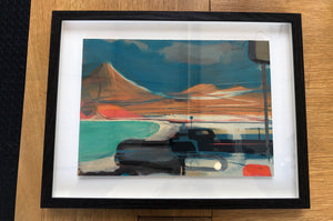 Painting of Cornwall industrial landscape of clay mining by artist Alasdair Lindsay