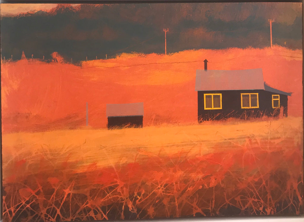 Painting of black houses in an orange landscape in Penwith Cornwall by artist Alasdair Lindsay