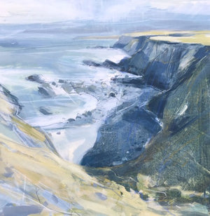 Painting of Hells Mouth cliff bear Gwithian in Cornwall by artist Imogen Bone