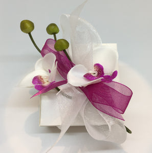 White Square Box with Orchid