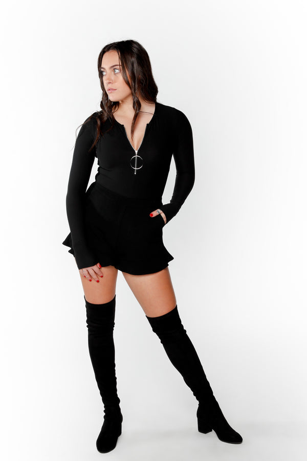 Black Zip Front Bodysuit