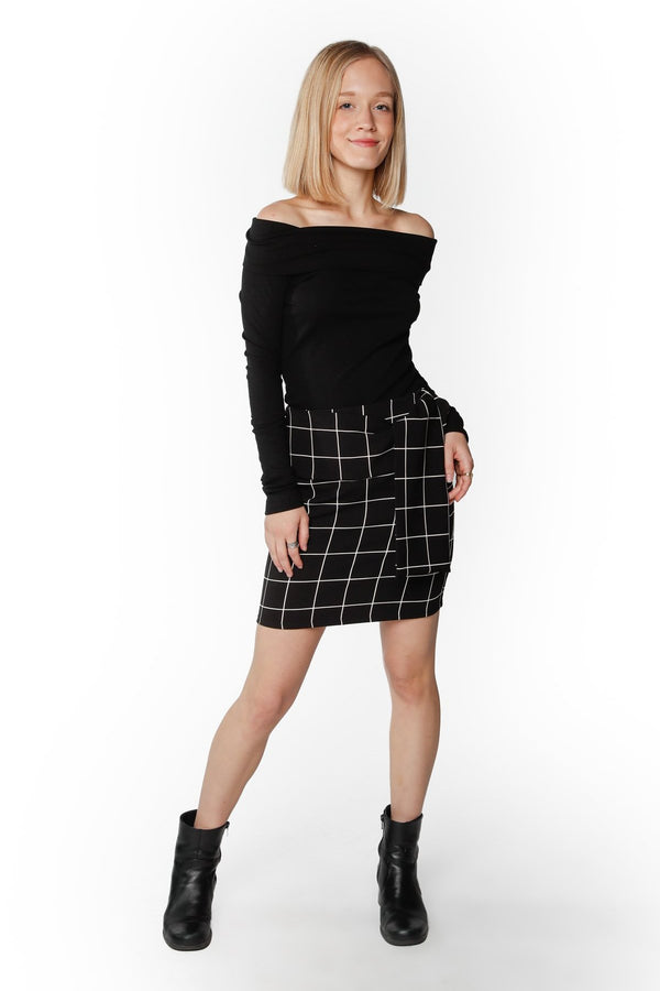 Black & White Plaid Mini-Skirt