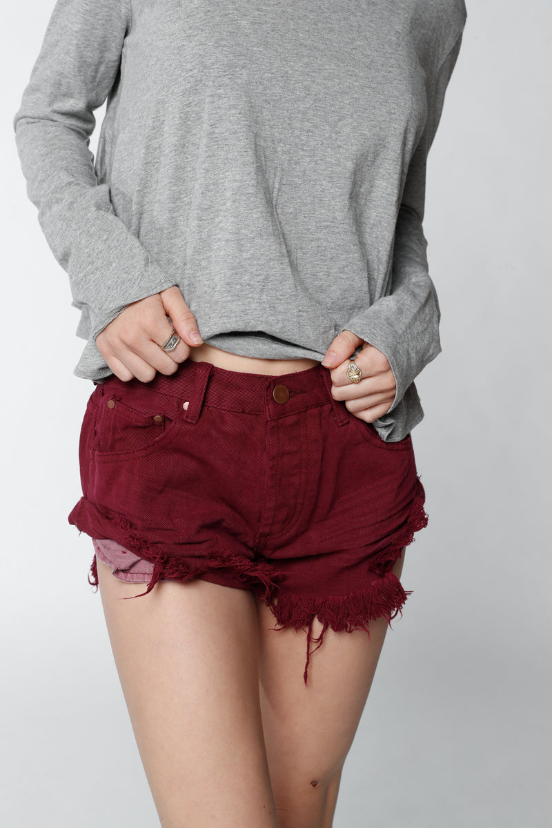 Berry Side Roll-up Shorts