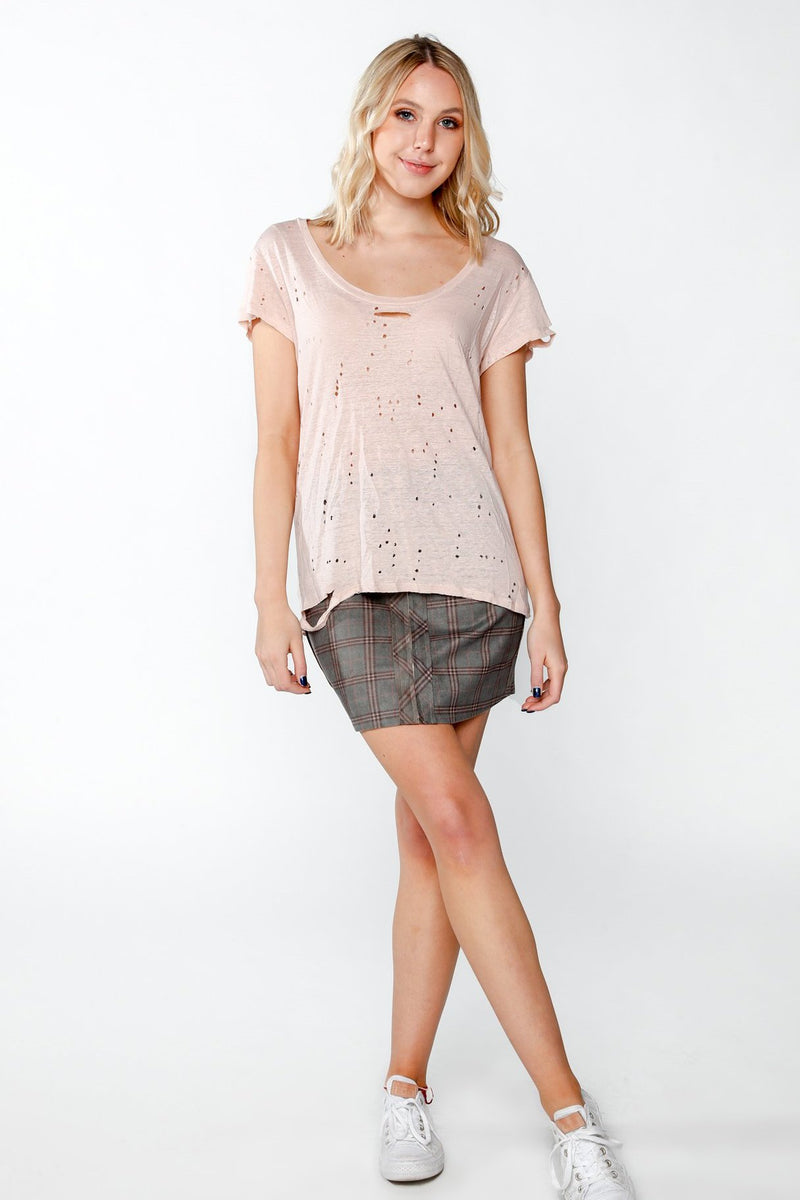 Olivaceous Blush Distressed Tee