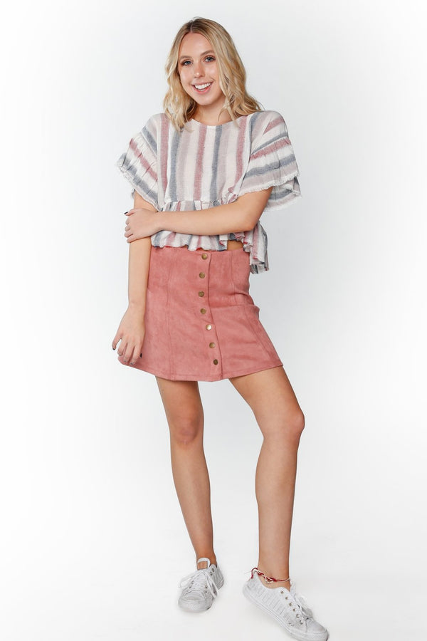 Blush Button Skirt