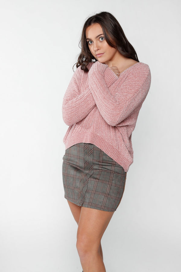 Petal Pink Plush Sweater