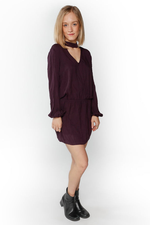 Plum Tied V-Neck Dress