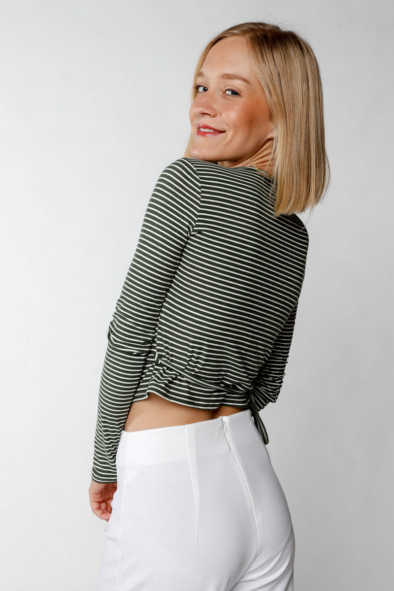 Striped Wrap Top