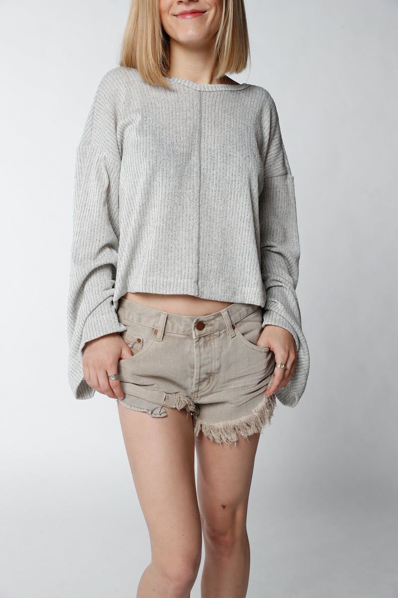 Taupe Side Roll-up Shorts
