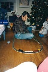 Peter with his first Train Set, Christmas 1994