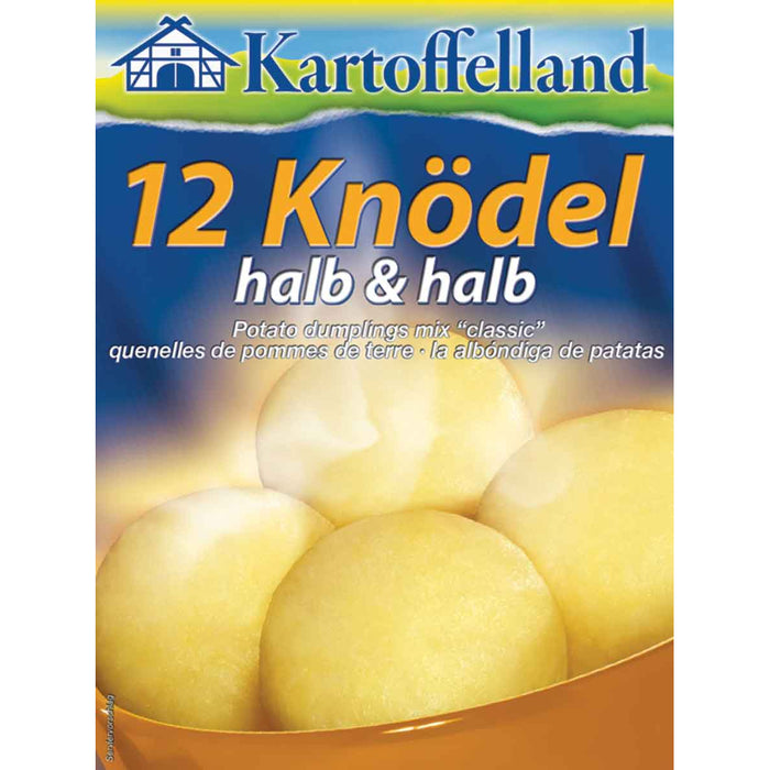 Kartoffelland 12 Classic Potato Dumpling Mix makes a original German specialty, consisting of one half from mashed potatoes and half from potatoes pieces, providing a more textured mouthfeel of the dumplings