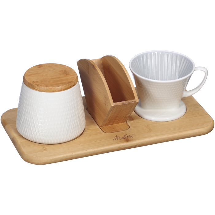 Melitta Porcelain Textured White Pour-Over Coffee Set - EuropeanDeli.com