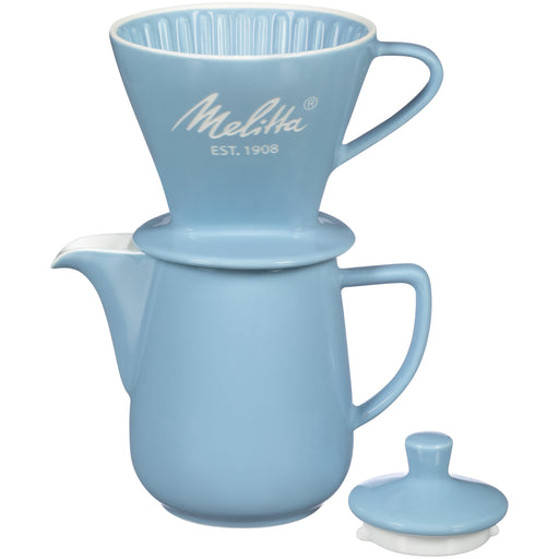 Melitta Porcelain Blue Pour-Over Coffee Brewer & Carafe Set - EuropeanDeli.com