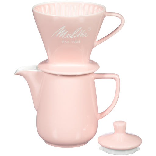 Melitta Porcelain Pink Pour-Over Coffee Brewer & Carafe Set - European Deli