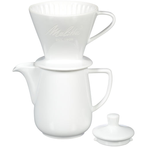 Melitta Porcelain White Pour-Over Coffee Brewer & Carafe Set - EuropeanDeli.com