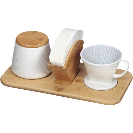 Melitta Porcelain Textured White Pour-Over Coffee Set - European Deli