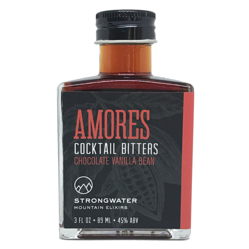 Strongwater Amores - Chocolate Vanilla Bitters contains whole cacao nibs, vanilla bean, milk thistle, cherry bark, oregon grape, and other mountain botanicals.