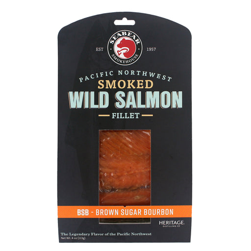 SeaBear Brown Sugar Bourbon Smoked Salmon is wild Pink salmon smoked in BSB oak chips along with Brown Sugar and Bourbon.