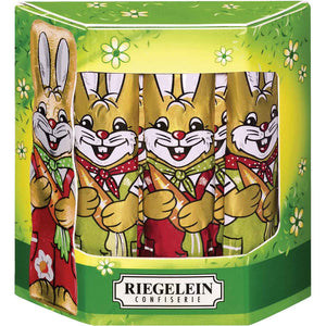 Riegelein Solid Easter Bunnies in Gift Box - 10 Pieces are made with the finest premium milk chocolate and foil wrapped in the cutest coveralls.