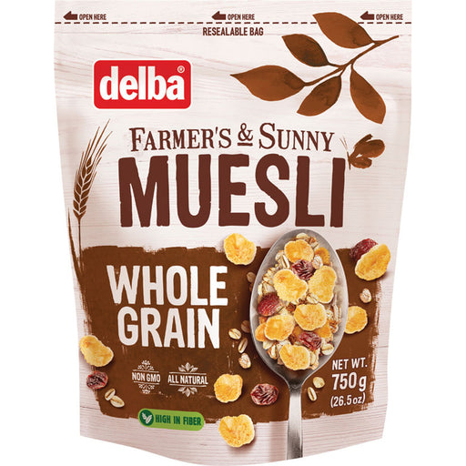Delba Whole Grain Muesli is an all natural, high in fiber/protein muesli with whole grain flakes, raisins, seeds and hazelnuts